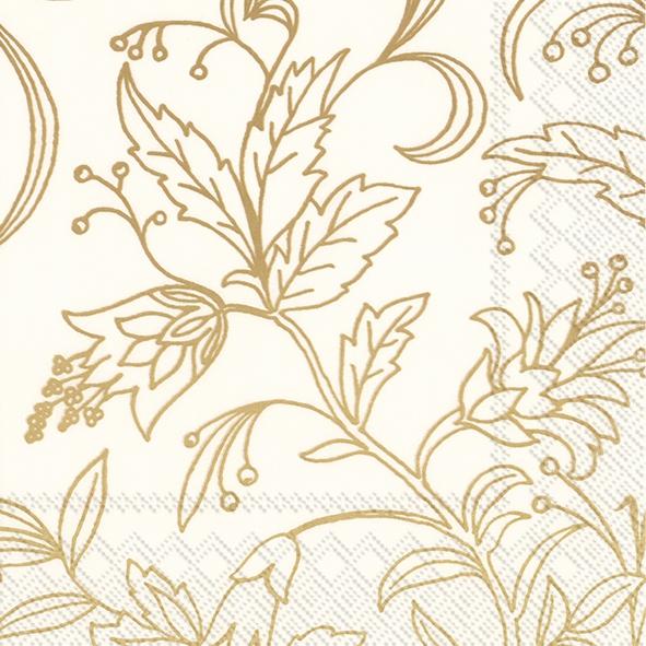 Napkins 33x33 cm - GOLDEN FLOWER cream gold