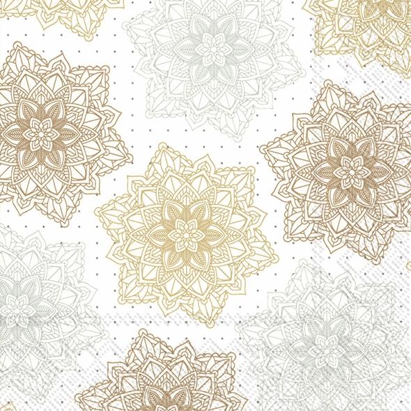 Napkins 33x33 cm - ORNAMENT white gold