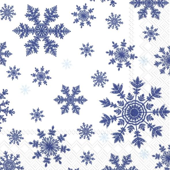 Napkins 33x33 cm - FALLING SNOWFLAKES white blue