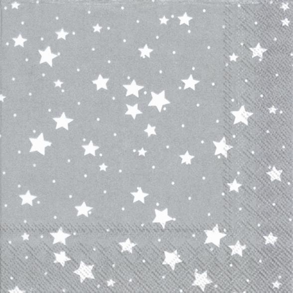 Napkins 33x33 cm - STELLA DI NATALE silver