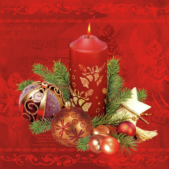 Servilletas 33x33 cm - Red Candle & Baubles Red