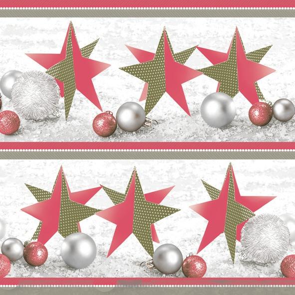 Napkins 33x33 cm - Handmade Christmas Stars Red