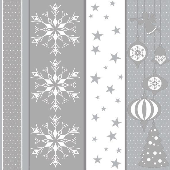 Napkins 33x33 cm - White & Silver Xmas Pattern