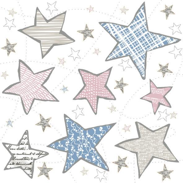 Napkins 33x33 cm - Irregular Graphic Stars Blue & Pink