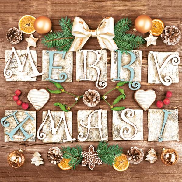 Napkins 33x33 cm - Very Merry Xmas!