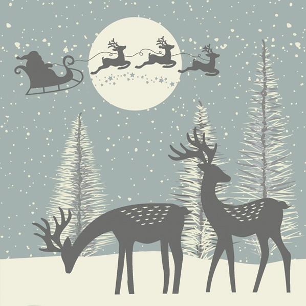 Serwetki 33x33 cm - Reindeers and Santa Cut-Outs Dusty Blue