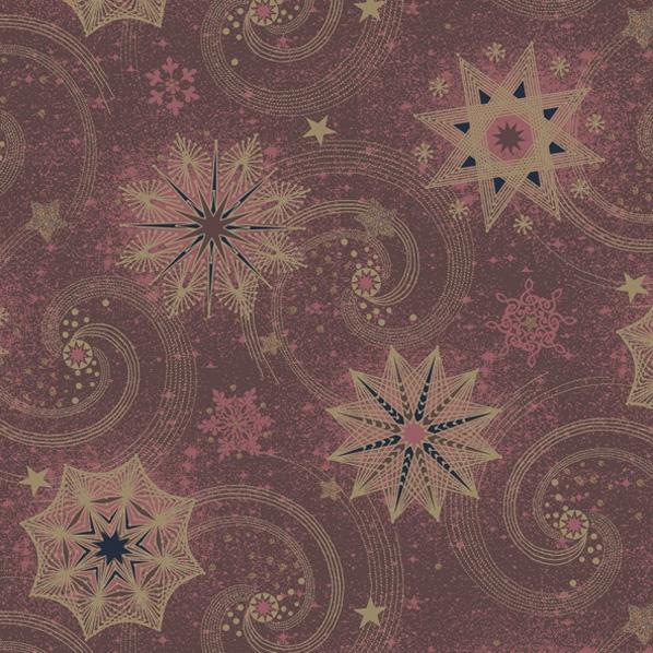 Serwetki 33x33 cm - Gold & Red Stars and Twirls on Claret