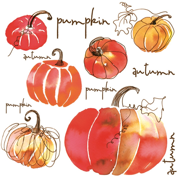Servilletas 33x33 cm - Watercolour Pumpkins