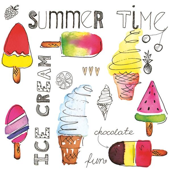 Servilletas 33x33 cm - Ice Cream Time