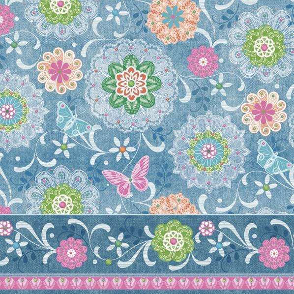 Napkins 33x33 cm - Blue Mandalas Pattern