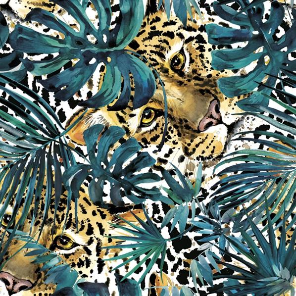 Serwetki 33x33 cm - Hidden Leopard with Turquoise Monsteras