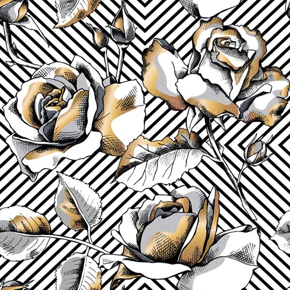 Servietten 33x33 cm - Golden Roses on a Diagonal Stripes