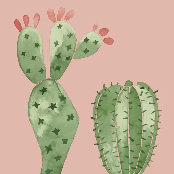 Serwetki 33x33 cm - Watercolour Cactuses