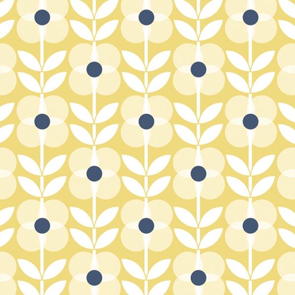Serwetki 33x33 cm - Yellow Flowers Pattern with Blue Dot