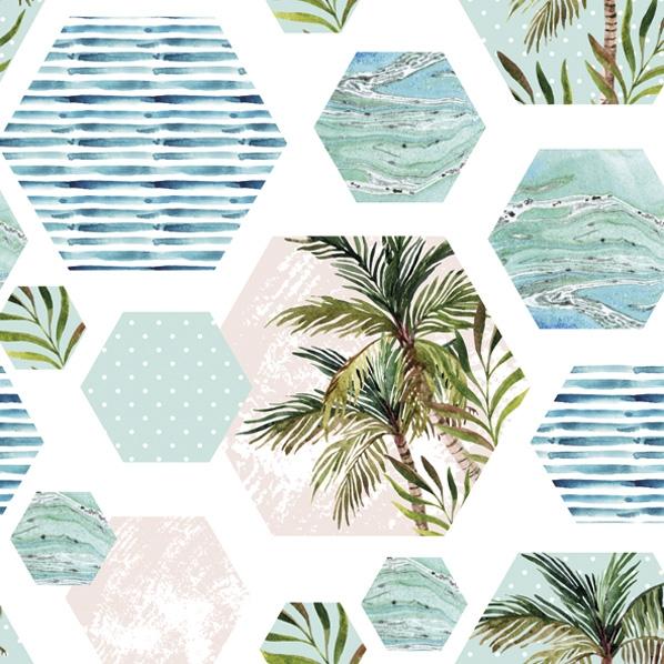 Serwetki 33x33 cm - Palms in Hexagons with Blue Background