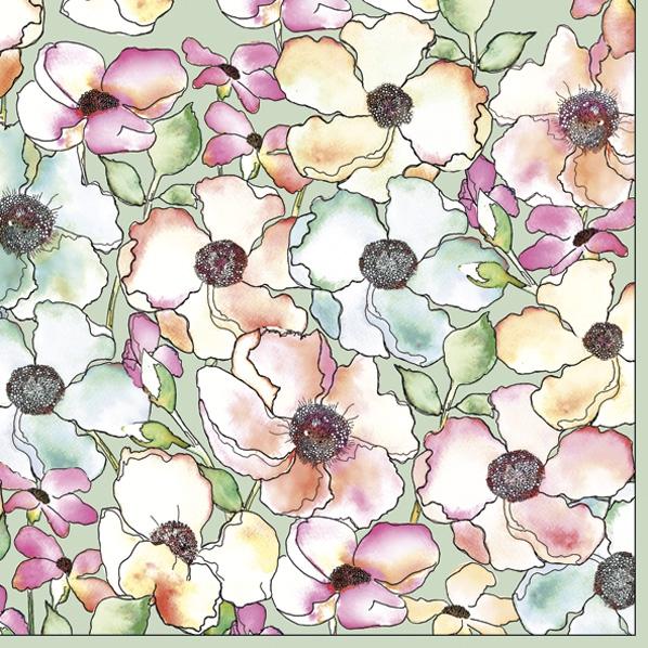 Serwetki 33x33 cm - Watercolour Flowers Meadow on Sage