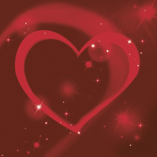 Serwetki 33x33 cm - Red Neon Heart
