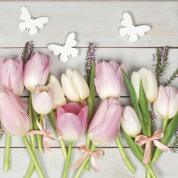 Servilletas 33x33 cm - White & Pink Tulips on Wood