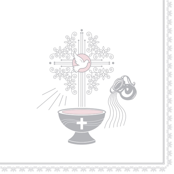 Servilletas 33x33 cm - Christening Motive Silver and Pink