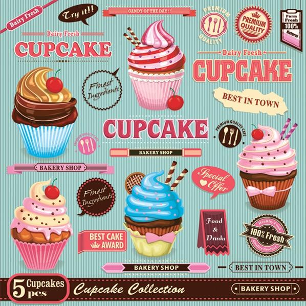 Napkins 33x33 cm - Vintage Cupcake Poster