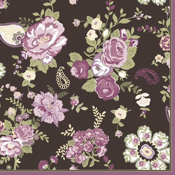 Servietten 33x33 cm - Wallpaper with Roses Claret