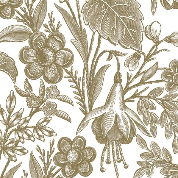 Servilletas 33x33 cm - Floral Illustration Gold