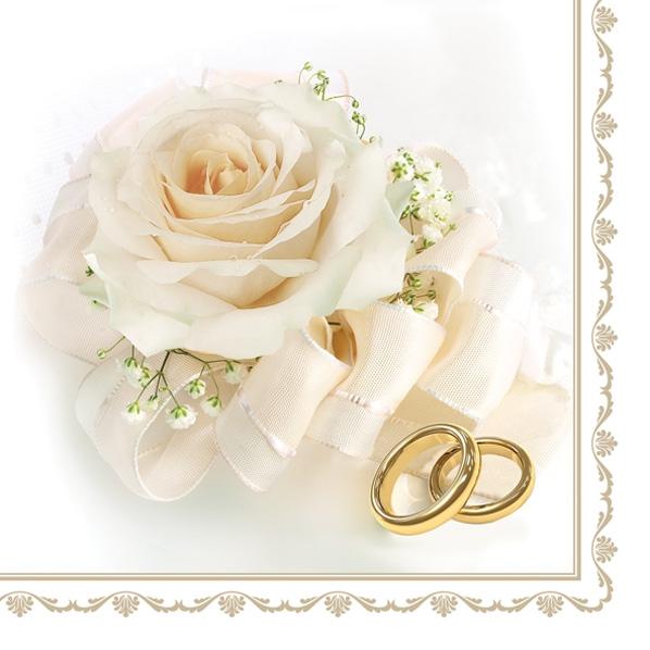 Napkins 33x33 cm - Wedding Rings & White Rose