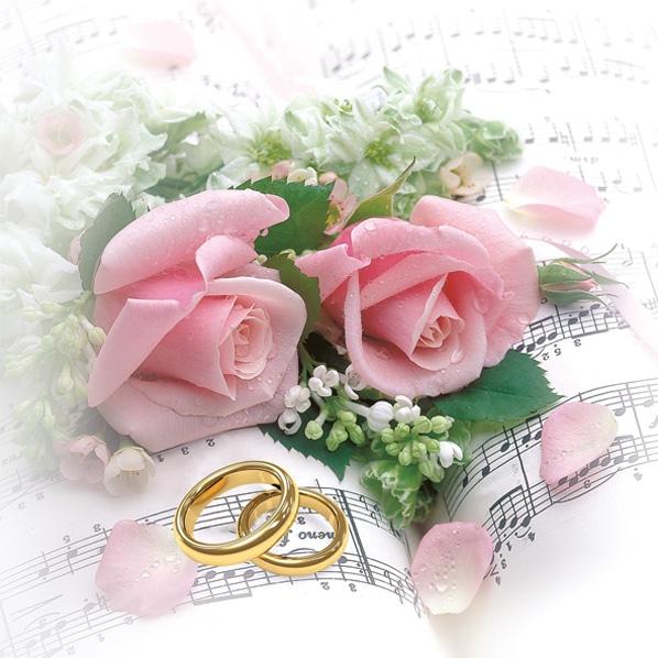 Servilletas 33x33 cm - Wedding Rings & Pink Roses