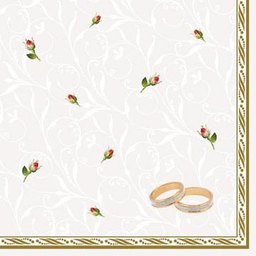 Servietten 33x33 cm - Wedding Rings White