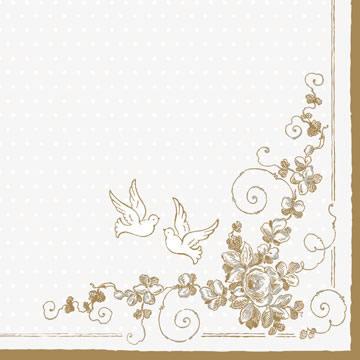 Servietten 33x33 cm - White Doves