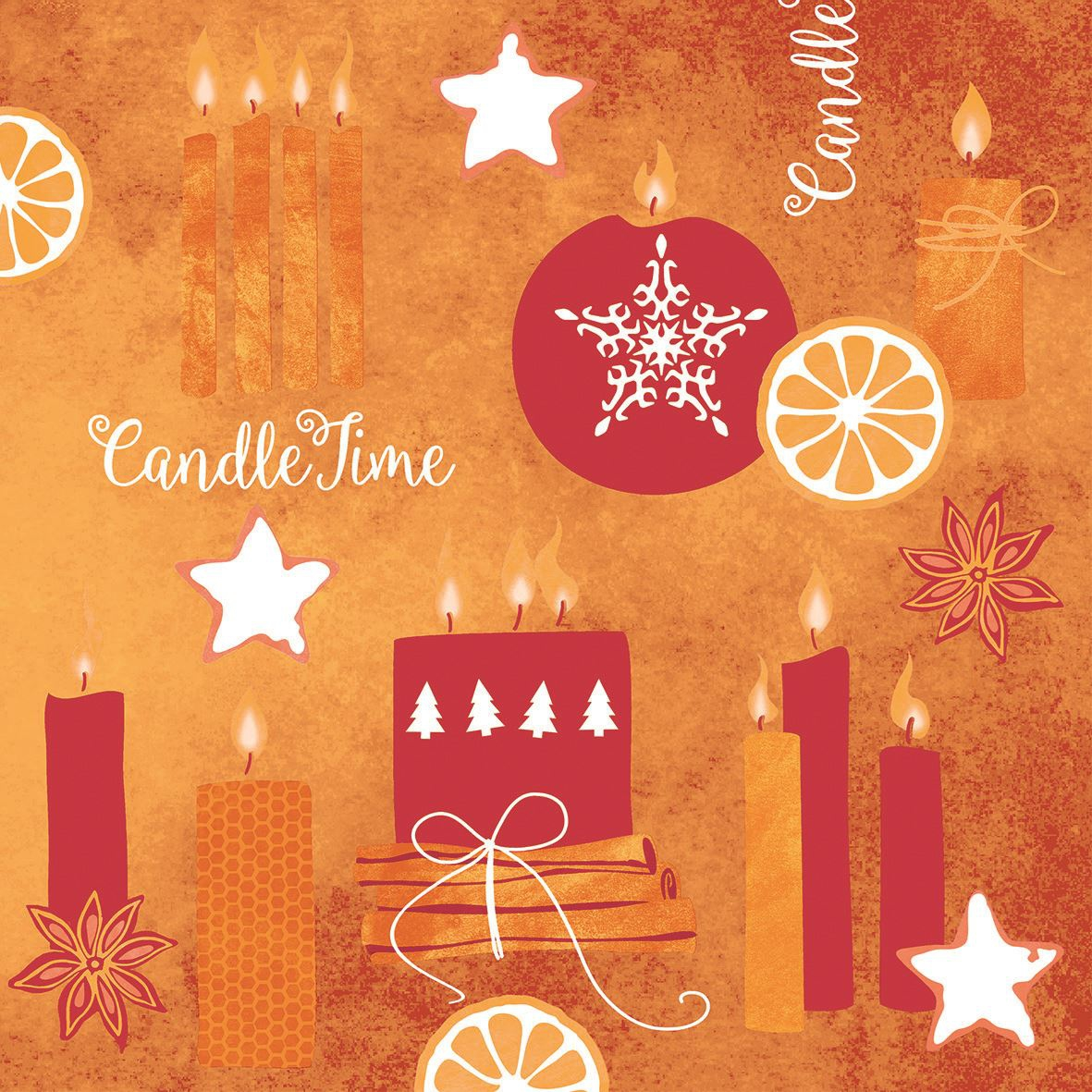 Linclass napkins 40x40 cm - Candle Time  (rot)