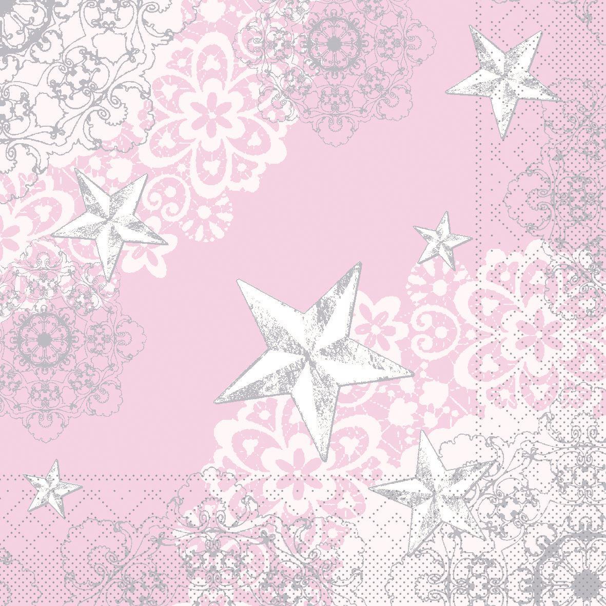 Tissue napkins 33x33 cm - STERNENSCHEIN rose-silber