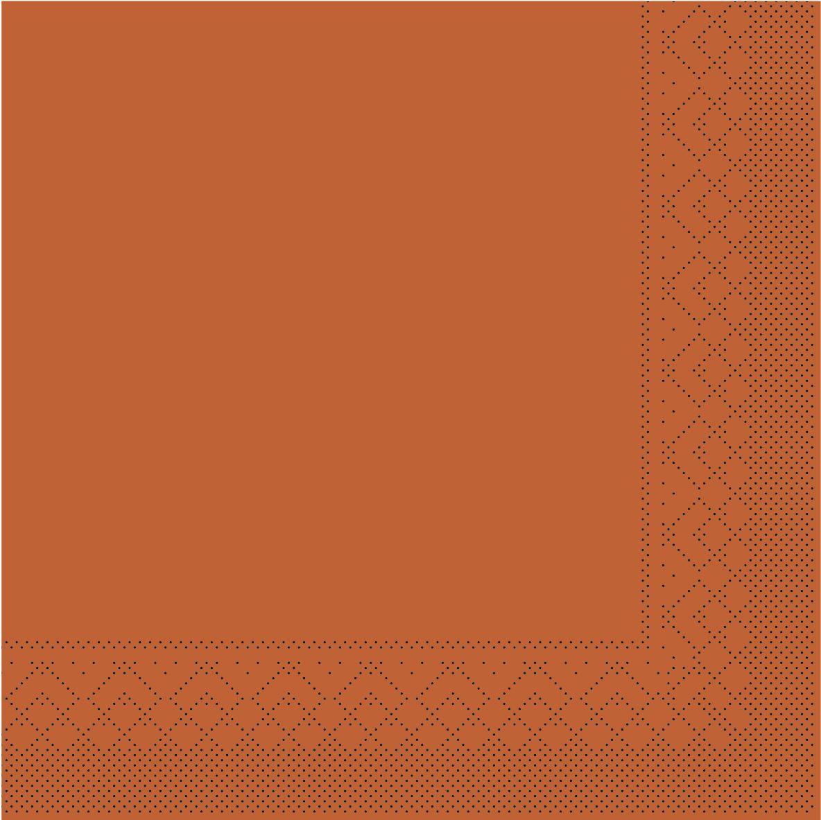 Serwetki chusteczki 33x33 cm - BASIC  TERRAKOTTA  33x33 cm 1/4 Falz