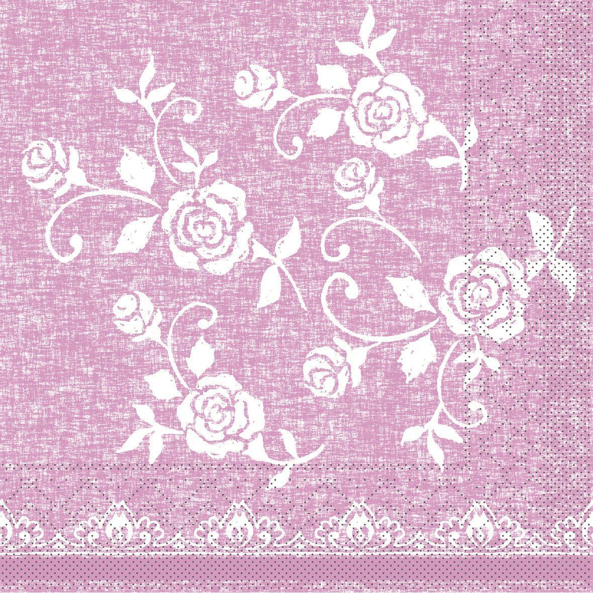 Tissue napkins 33x33 cm - Lace  (rosé)