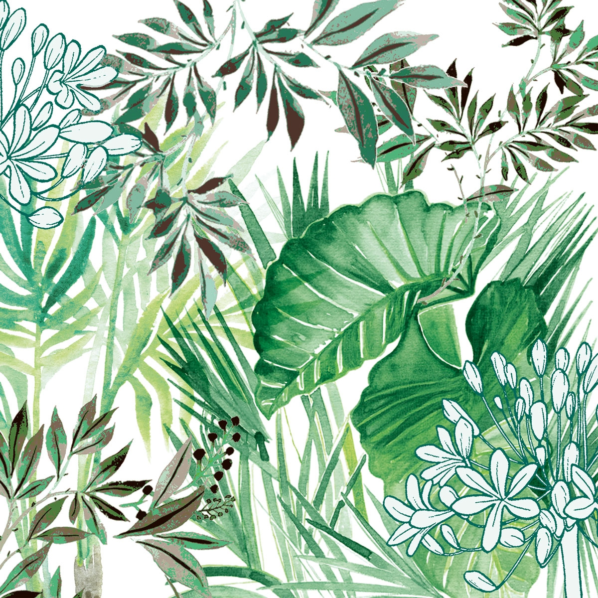 Napkins 33x33 cm - Tropical Plants