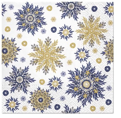 Napkins 33x33 cm - Snowflakes navy blue