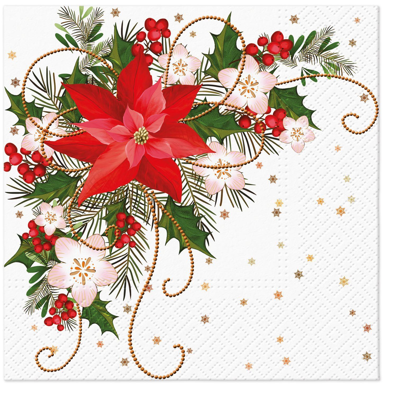Servilletas 33x33 cm - Poinsettia Composition