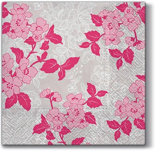 Napkins 33x33 cm - Flower & Lance (rosa)