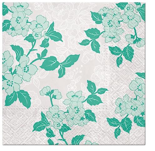 Napkins 33x33 cm - Flower & Lance (green)