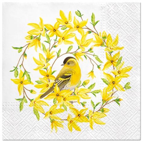 Napkins 33x33 cm - Forsythia & Bird