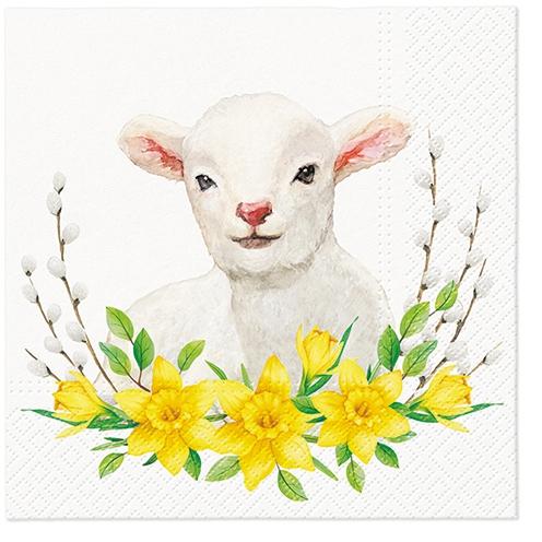 Servilletas 33x33 cm - Lamb with Wreath