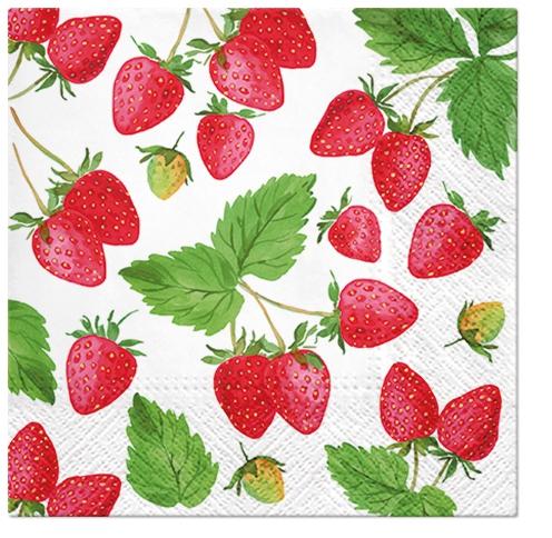 Napkins 33x33 cm - Fresh Strawberry