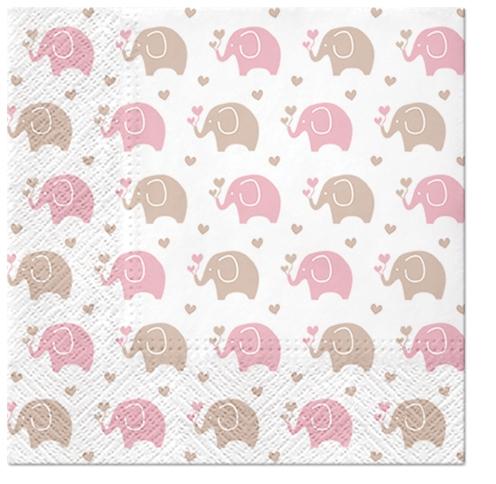 Servilletas 33x33 cm - Baby Elephants (pink)