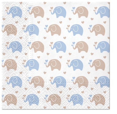 Servilletas 33x33 cm - Baby Elephants (blue)