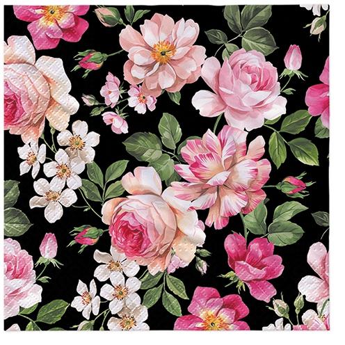 Napkins 33x33 cm - Roses Glory (black)