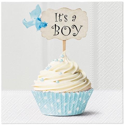Napkins 33x33 cm - Blue Cupcake