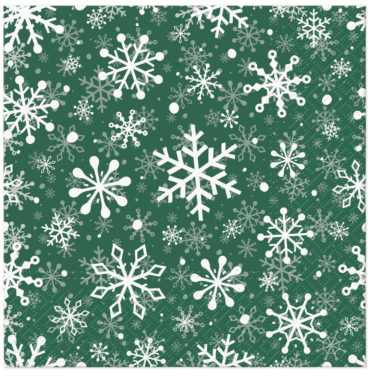 Napkins 33x33 cm - Christmas Snowflakes green
