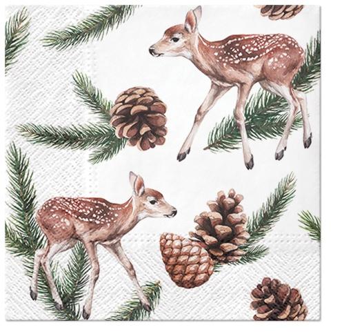 Servilletas 33x33 cm - Deers and Cones