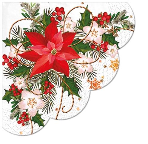 Napkins - Round - Poinsettia Composition