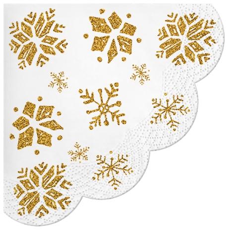 Napkins - Round - Glitter Snowflakes